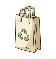 Eco friendly paper bag ecological and zero-waste vector