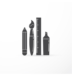 education creativity pen pencil brush vector image vector image