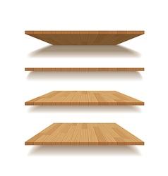 Empty wooden shelf isolated background vector