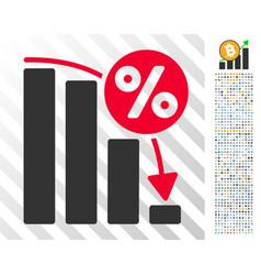 falling percent bar chart flat icon with bonus vector image
