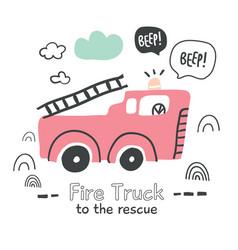 fire truck in scandinavian style vector image