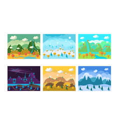 flat set of landscapes with different vector image