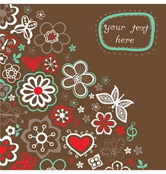 Floral background summer theme greeting card vector