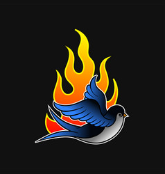 Flying swallow bird and hot flame old-school vector