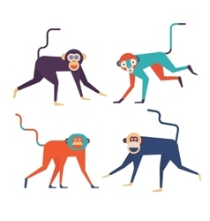 four monkeys icons vector image