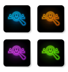 glowing neon magnifying glass for search a people vector image