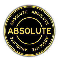 Gold color absolute word round sticker on white vector
