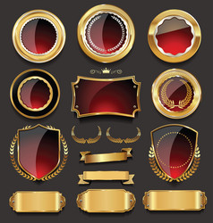 Golden sale frame badge and label collection 1 vector