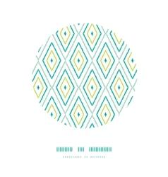 Green ikat diamonds frame circle decor patterns vector