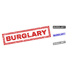 Grunge burglary scratched rectangle stamp seals vector