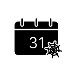 Halloween calendar with spider web silhouette icon vector