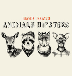 Hand drawn animals hipsters set in vintage style vector