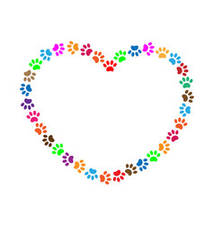 heart frame multicolored animal paw prints vector image