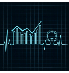 Heartbeat make business graph and light-bulb vector