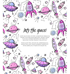 into space vertical child card with contour vector image