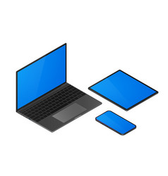 isometric gadgets set laptop and mobile phone vector image