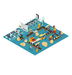 Isometric industrial factory concept vector