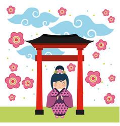 Japanese girl design vector