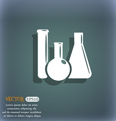 laboratory glass chemistry icon On the blue-green vector image