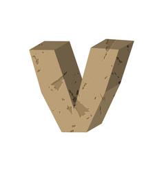 Letter v stone font rock alphabet symbol stones vector