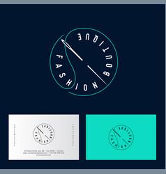 logo fashion boutique clothes shop needle thread vector image