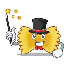 Magician farfalle pasta mascot cartoon vector