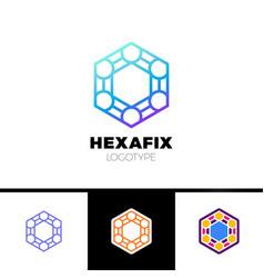Mechanic gear fix hexagon abstract logo design vector