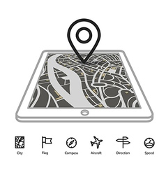 Modern gadget with abstract city map in vector