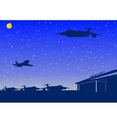 night airport vector image