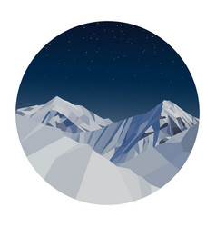 night mountains low poly in a circle vector image