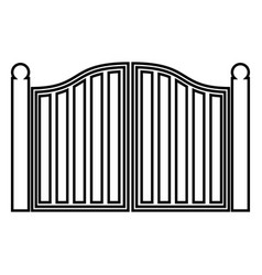 Old gate icon black color flat style simple image vector