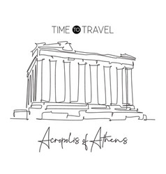 One continuous line drawing acropolis landmark vector