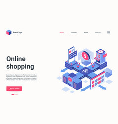 Online shopping technology isometric landing page vector