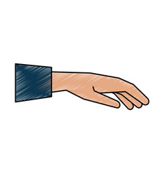 open hand facing down sideview icon imag vector image