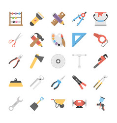 Pack of power tools flat icons vector