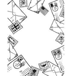 post stamp envelopes engraving vector image