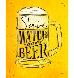 Poster drink beer yellow vector image