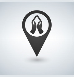 praying hands map pointer icon vector image