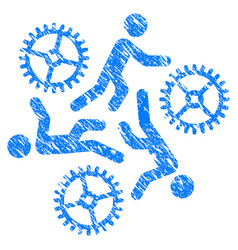 running persons for gears grunge icon vector image