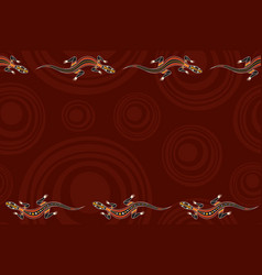 seamless horizontal border pattern with lizards vector image