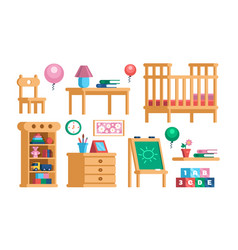 Set childrens room interior furniture collection vector