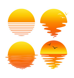 set flat symbols sunsets and sunrises vector image