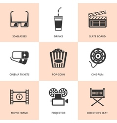 Set of black cinema icons vector