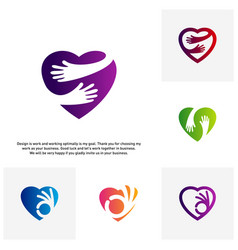 set of love care creative logo concepts heart vector image