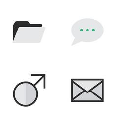 set of simple design icons elements message bubble vector image