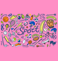 set of sport icons doodle style equipment for vector image