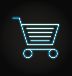 shopping cart icon in neon line style vector image