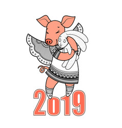 simbol 2019 happy new year chinese horoscope vector image