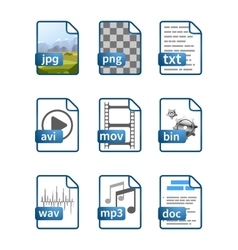 Simple bright blue file icons with extensions vector