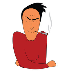 simple cartoon a man in red shirt smoking on vector image